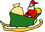 Santa in his sleigh with a sack of presents