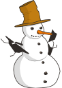 A snowman with a tall brown hat and a carrot for its nose