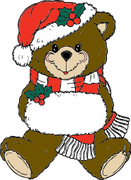 A teddy bear wearing a Santa hat
