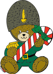 A teddy bear in a soldier's uniform carrying some Christmas candy