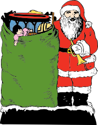 Santa Claus with a trumpet and a sack of toys