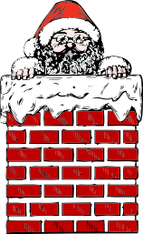 Santa Claus' head sticking out of a chimney