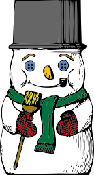 A snowman with buttons for eyes and a broom