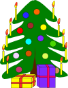 A Chrismas tree with candles and coloured baubles