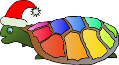 A turtle with a multi-coloured shell wearing a Santa hat