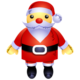 An inflatable Santa Claus