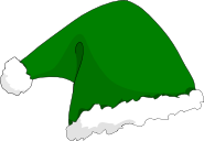 A green santa hat with a white pom pom on the end