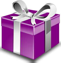 A big purple present with a silver ribbon