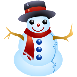 A snowman with a scarf and a top hat