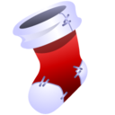 A red and white Christmas stocking