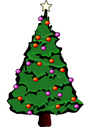 A Christmas tree with a gold star and red and purple lights