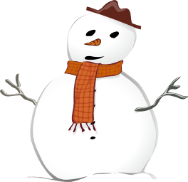 A snowman with a brown hat and scarf and a carrot nose